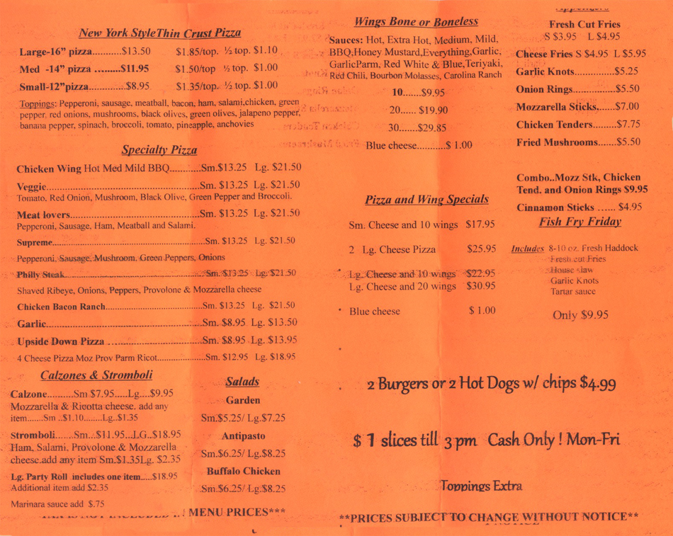 pizza and entre italian food menu in Cazenovia New York
